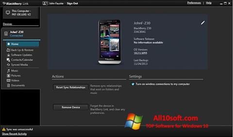 Ekran görüntüsü BlackBerry Link Windows 10
