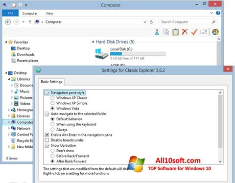 Ekran görüntüsü Classic Shell Windows 10