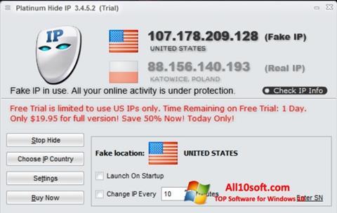 Ekran görüntüsü Hide IP Platinum Windows 10
