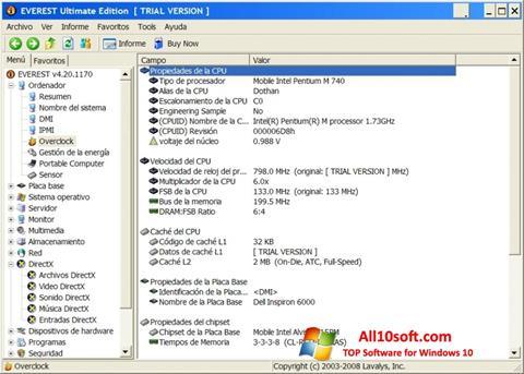 Ekran görüntüsü EVEREST Ultimate Edition Windows 10