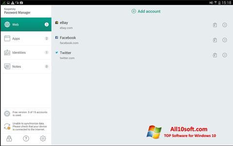 Ekran görüntüsü Kaspersky Password Manager Windows 10