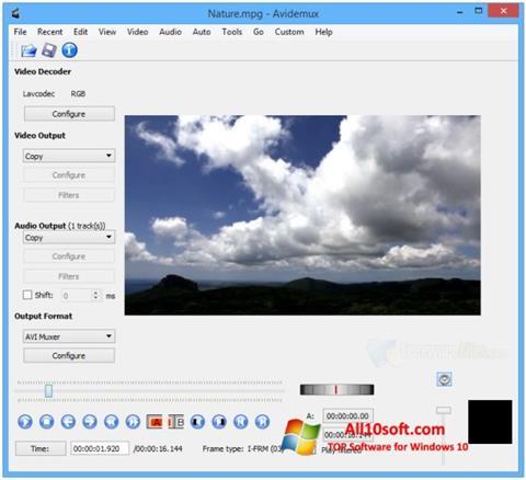 Ekran görüntüsü Avidemux Windows 10