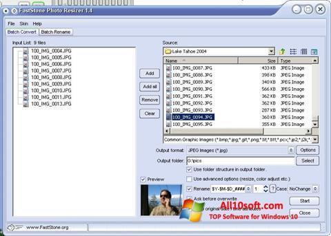 Ekran görüntüsü FastStone Photo Resizer Windows 10