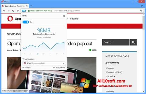 Ekran görüntüsü Opera Windows 10