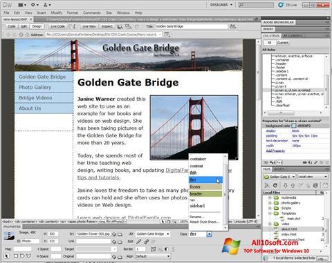 Ekran görüntüsü Adobe Dreamweaver Windows 10