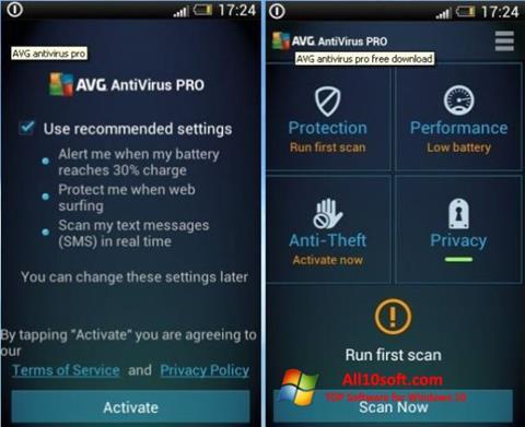 Ekran görüntüsü AVG AntiVirus Pro Windows 10