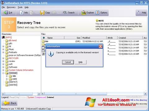 Ekran görüntüsü GetDataBack Windows 10