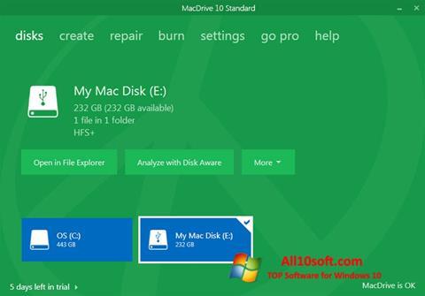 Ekran görüntüsü MacDrive Windows 10