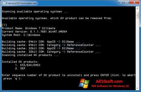Ekran görüntüsü ESET Uninstaller Windows 10