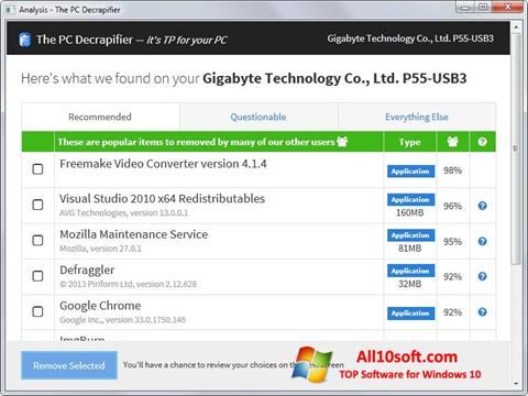 Ekran görüntüsü PC Decrapifier Windows 10