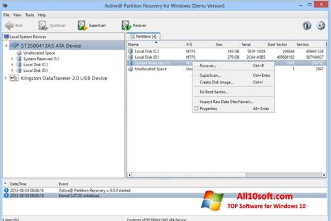 Ekran görüntüsü Active Partition Recovery Windows 10