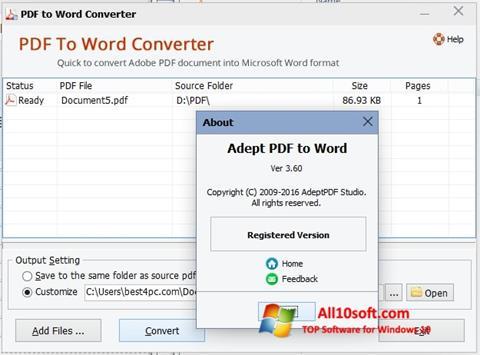 Ekran görüntüsü PDF to Word Converter Windows 10