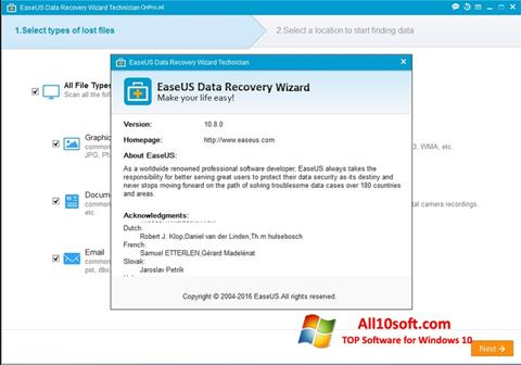 Ekran görüntüsü EaseUS Data Recovery Wizard Windows 10