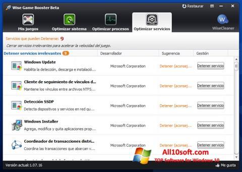 Ekran görüntüsü Wise Game Booster Windows 10