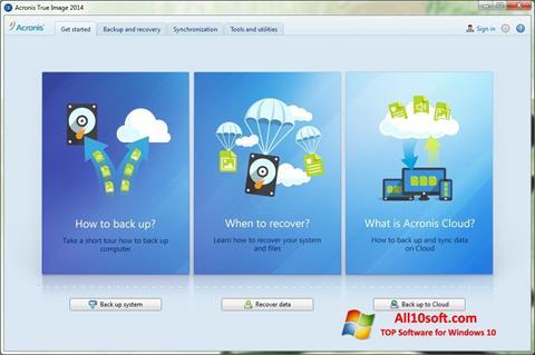 Ekran görüntüsü Acronis True Image Windows 10