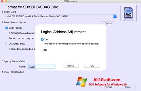 Ekran görüntüsü SDFormatter Windows 10