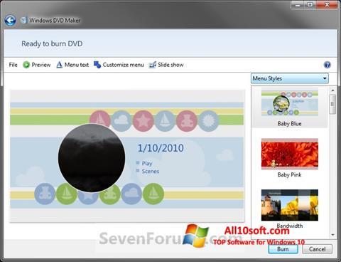 Ekran görüntüsü DVD Maker Windows 10