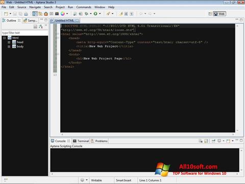 Ekran görüntüsü Aptana Studio Windows 10