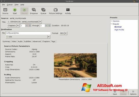 Ekran görüntüsü HandBrake Windows 10