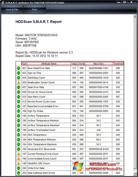 Ekran görüntüsü HDDScan Windows 10