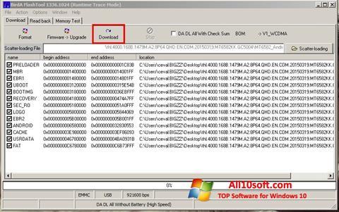 Ekran görüntüsü FlashTool Windows 10