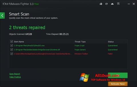 Ekran görüntüsü IObit Malware Fighter Windows 10