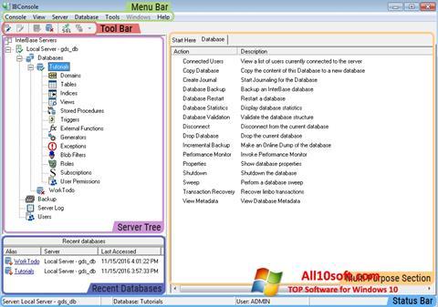 Ekran görüntüsü InterBase Windows 10