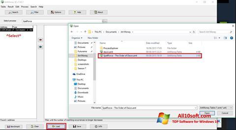 Ekran görüntüsü ArtMoney Windows 10
