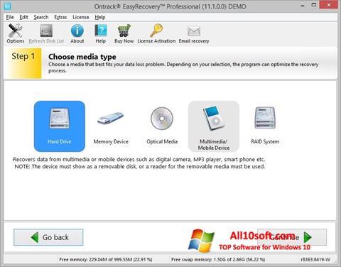 Ekran görüntüsü EasyRecovery Professional Windows 10