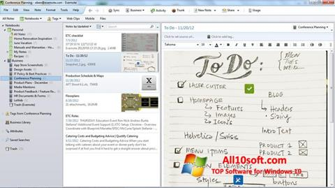 Ekran görüntüsü Evernote Windows 10