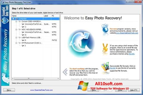Ekran görüntüsü Easy Photo Recovery Windows 10