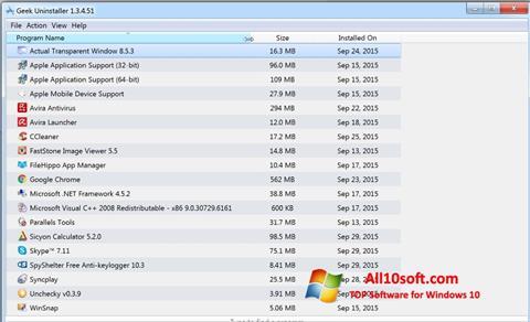 Ekran görüntüsü Geek Uninstaller Windows 10