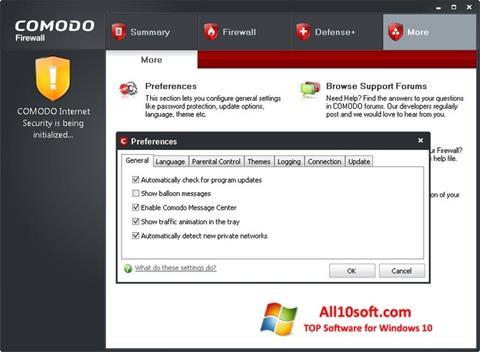 Ekran görüntüsü Comodo Firewall Windows 10