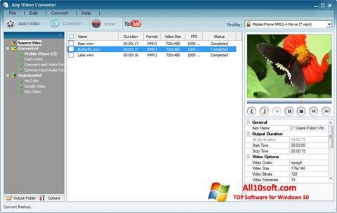 Ekran görüntüsü Any Video Converter Windows 10