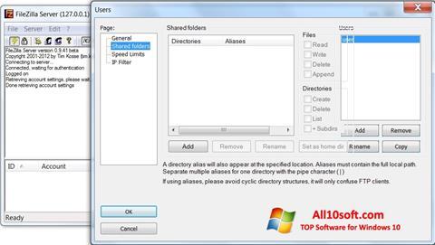 Ekran görüntüsü FileZilla Server Windows 10
