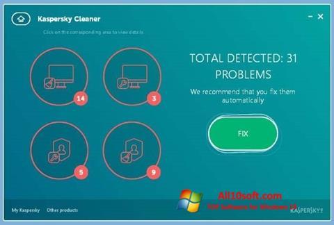 Ekran görüntüsü Kaspersky Cleaner Windows 10