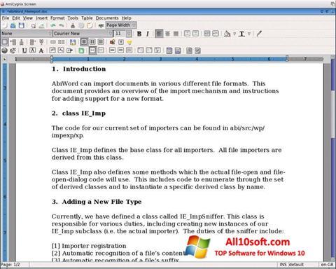 Ekran görüntüsü AbiWord Windows 10