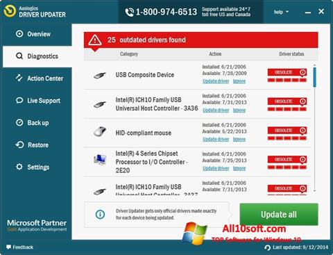 Ekran görüntüsü Auslogics Driver Updater Windows 10