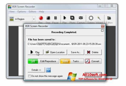 Ekran görüntüsü BSR Screen Recorder Windows 10