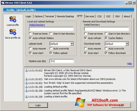 Ekran görüntüsü Bitvise SSH Client Windows 10