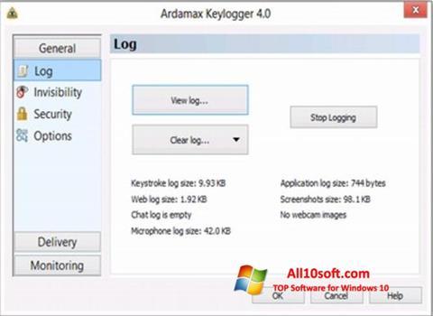 Ekran görüntüsü Ardamax Keylogger Windows 10