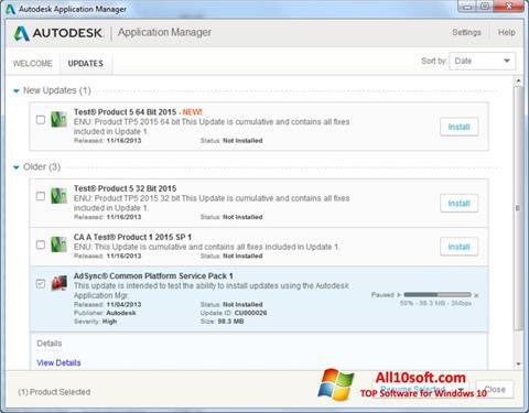 Ekran görüntüsü Autodesk Application Manager Windows 10