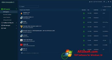 Ekran görüntüsü IObit Uninstaller Windows 10