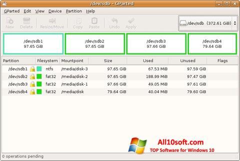 Ekran görüntüsü GParted Windows 10