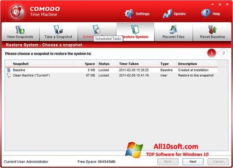 Ekran görüntüsü Comodo Time Machine Windows 10