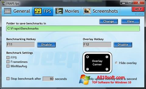 Ekran görüntüsü Fraps Windows 10