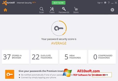 Ekran görüntüsü Avast Internet Security Windows 10