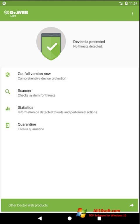 Ekran görüntüsü Dr.Web Light Windows 10