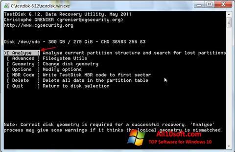 Ekran görüntüsü TestDisk Windows 10
