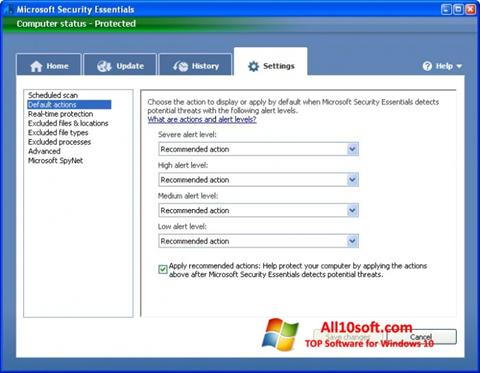 Ekran görüntüsü Microsoft Security Essentials Windows 10